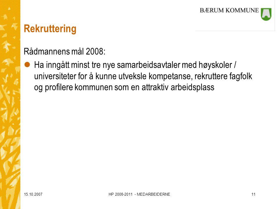 15.10.2007HP 2008-2011 - MEDARBEIDERNE11 Rekruttering Rådmannens mål 2008: lHa inngått minst tre nye samarbeidsavtaler med høyskoler / universiteter
