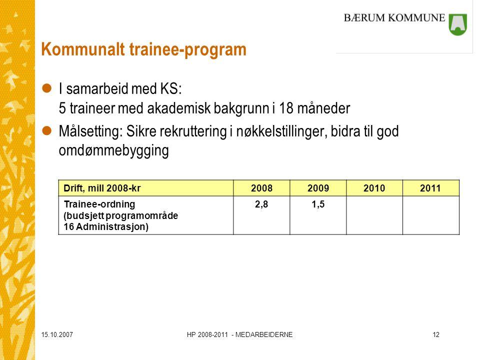 15.10.2007HP 2008-2011 - MEDARBEIDERNE12 Kommunalt trainee-program lI samarbeid med KS: 5 traineer med akademisk bakgrunn i 18 måneder lMålsetting: Sikre rekruttering i nøkkelstillinger, bidra til god omdømmebygging Drift, mill 2008-kr2008200920102011 Trainee-ordning (budsjett programområde 16 Administrasjon) 2,81,5