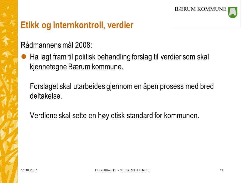 15.10.2007HP 2008-2011 - MEDARBEIDERNE14 Etikk og internkontroll, verdier Rådmannens mål 2008: lHa lagt fram til politisk behandling forslag til verdi