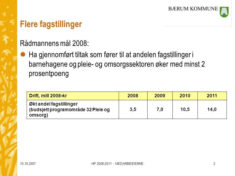 15.10.2007HP 2008-2011 - MEDARBEIDERNE2 Flere fagstillinger Rådmannens mål 2008: lHa gjennomført tiltak som fører til at andelen fagstillinger i barnehagene og pleie- og omsorgssektoren øker med minst 2 prosentpoeng Drift, mill 2008-kr2008200920102011 Økt andel fagstillinger (budsjett programområde 32 Pleie og omsorg) 3,57,010,514,0