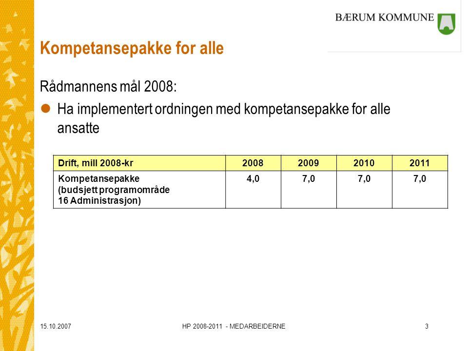15.10.2007HP 2008-2011 - MEDARBEIDERNE3 Kompetansepakke for alle Rådmannens mål 2008: lHa implementert ordningen med kompetansepakke for alle ansatte Drift, mill 2008-kr2008200920102011 Kompetansepakke (budsjett programområde 16 Administrasjon) 4,07,0