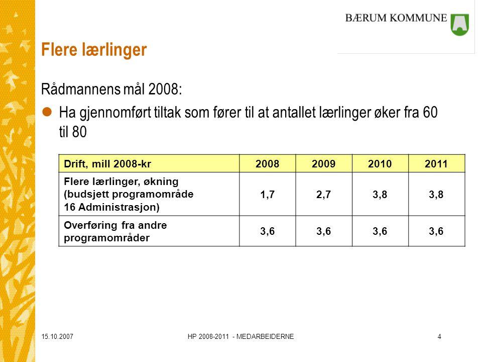 15.10.2007HP 2008-2011 - MEDARBEIDERNE4 Flere lærlinger Rådmannens mål 2008: lHa gjennomført tiltak som fører til at antallet lærlinger øker fra 60 ti