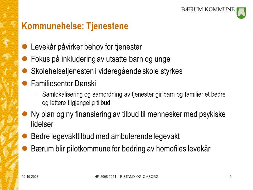 15.10.2007HP 2008-2011 - BISTAND OG OMSORG13 Kommunehelse: Tjenestene lLevekår påvirker behov for tjenester lFokus på inkludering av utsatte barn og u