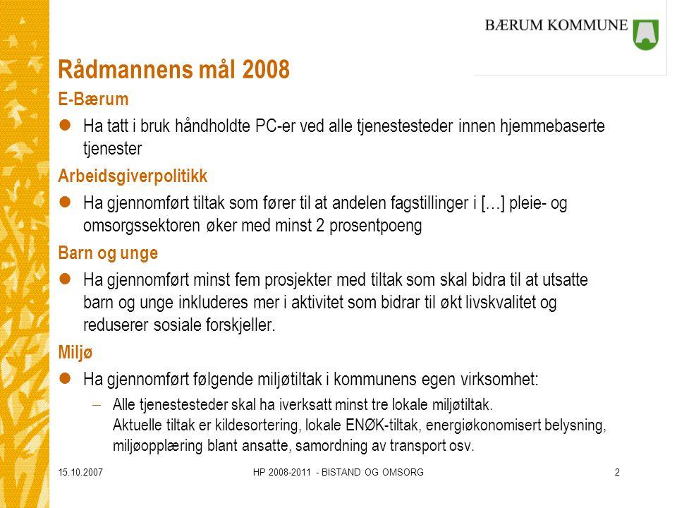 15.10.2007HP 2008-2011 - BISTAND OG OMSORG2 Rådmannens mål 2008 E-Bærum lHa tatt i bruk håndholdte PC-er ved alle tjenestesteder innen hjemmebaserte t