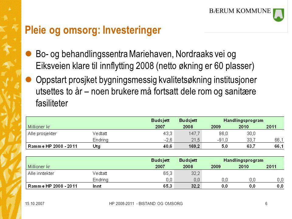 15.10.2007HP 2008-2011 - BISTAND OG OMSORG6 Pleie og omsorg: Investeringer lBo- og behandlingssentra Mariehaven, Nordraaks vei og Eiksveien klare til