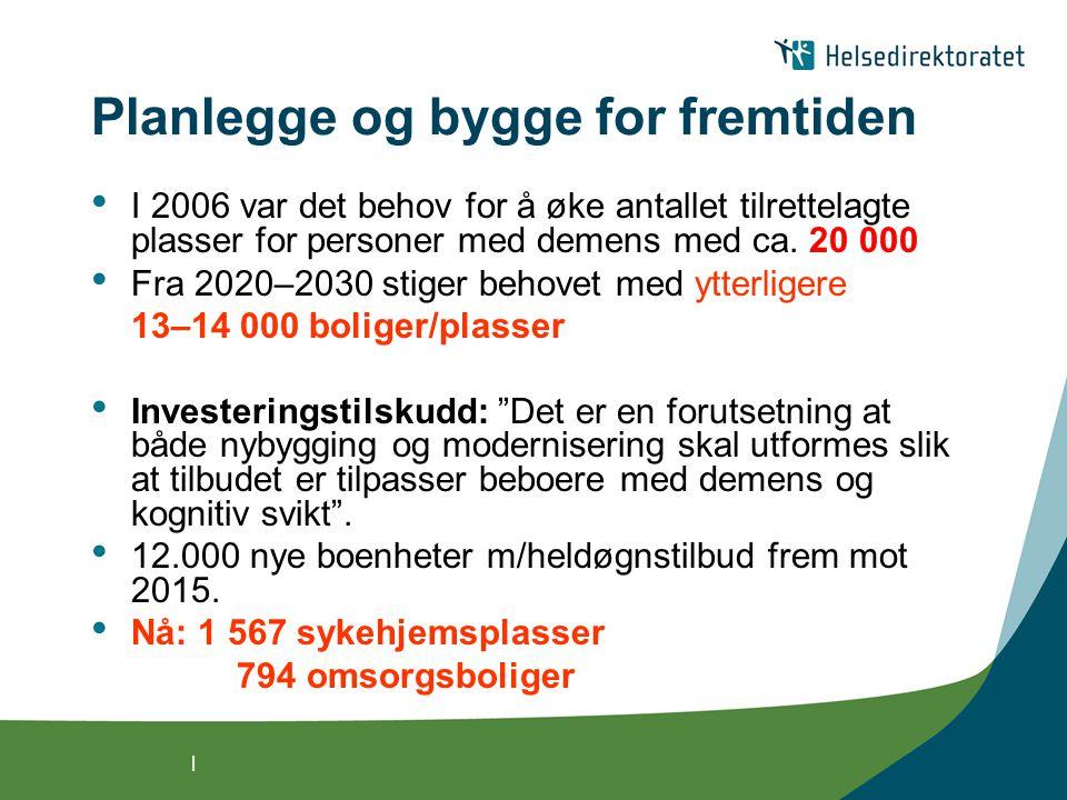 | Planlegge og bygge for fremtiden I 2006 var det behov for å øke antallet tilrettelagte plasser for personer med demens med ca. 20 000 Fra 2020–2030