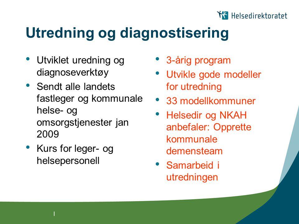 | Utredning og diagnostisering Utviklet uredning og diagnoseverktøy Sendt alle landets fastleger og kommunale helse- og omsorgstjenester jan 2009 Kurs