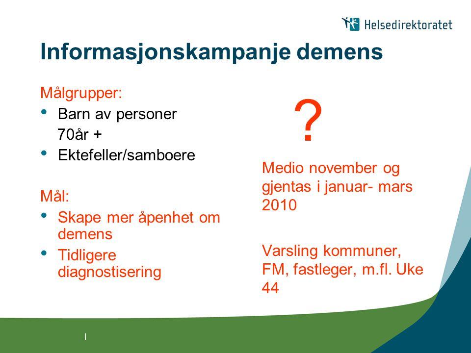 | Informasjonskampanje demens Målgrupper: Barn av personer 70år + Ektefeller/samboere Mål: Skape mer åpenhet om demens Tidligere diagnostisering ? Med