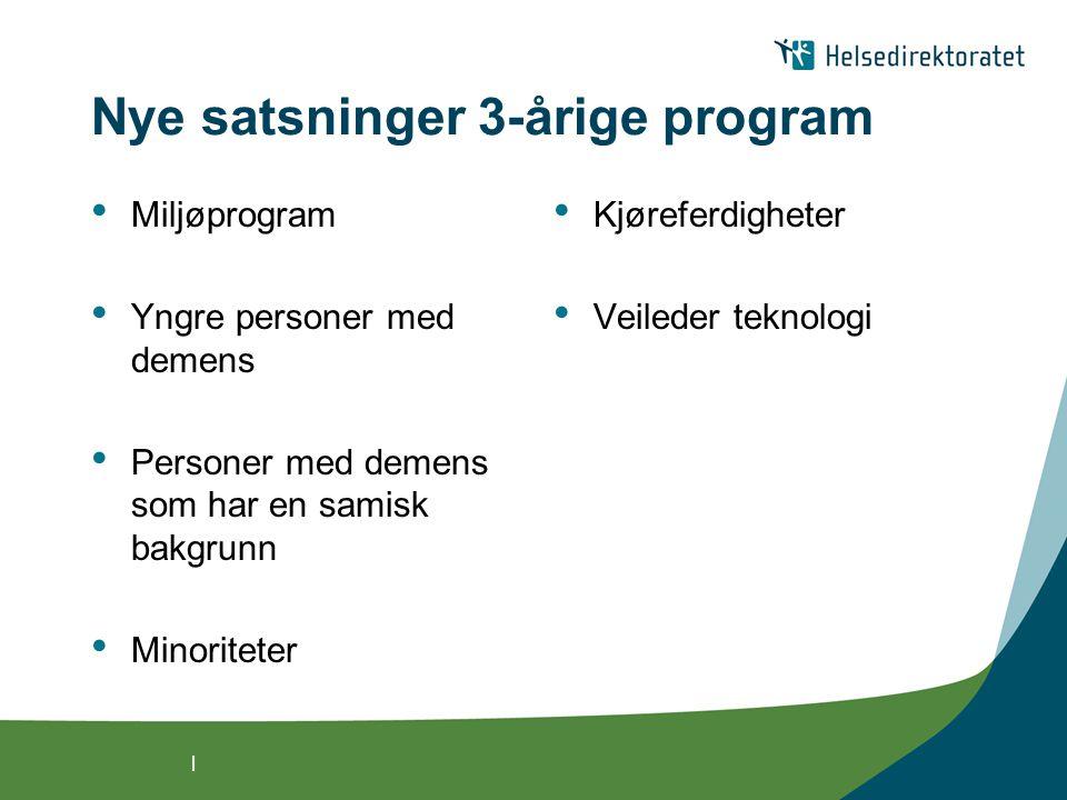 | Nye satsninger 3-årige program Miljøprogram Yngre personer med demens Personer med demens som har en samisk bakgrunn Minoriteter Kjøreferdigheter Ve