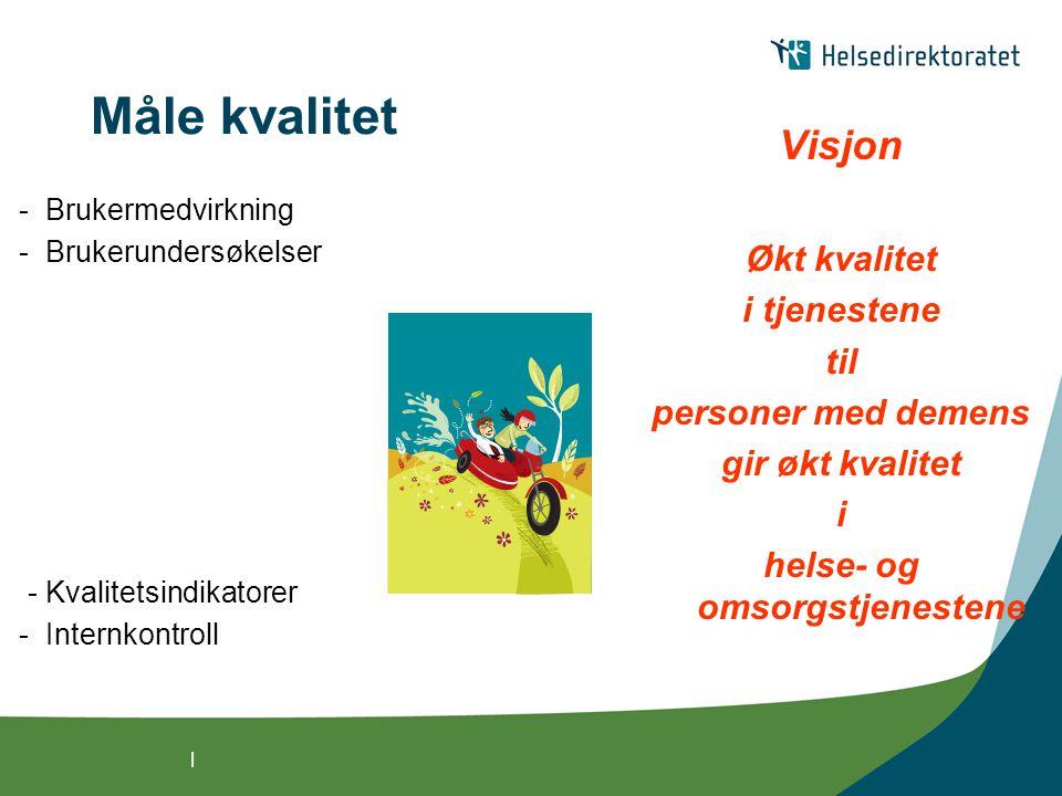 | Måle kvalitet - Brukermedvirkning - Brukerundersøkelser - Kvalitetsindikatorer - Internkontroll Visjon Økt kvalitet i tjenestene til personer med de