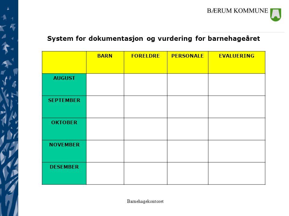 Barnehagekontoret System for dokumentasjon og vurdering for barnehageåret BARNFORELDREPERSONALEEVALUERING AUGUST SEPTEMBER OKTOBER NOVEMBER DESEMBER