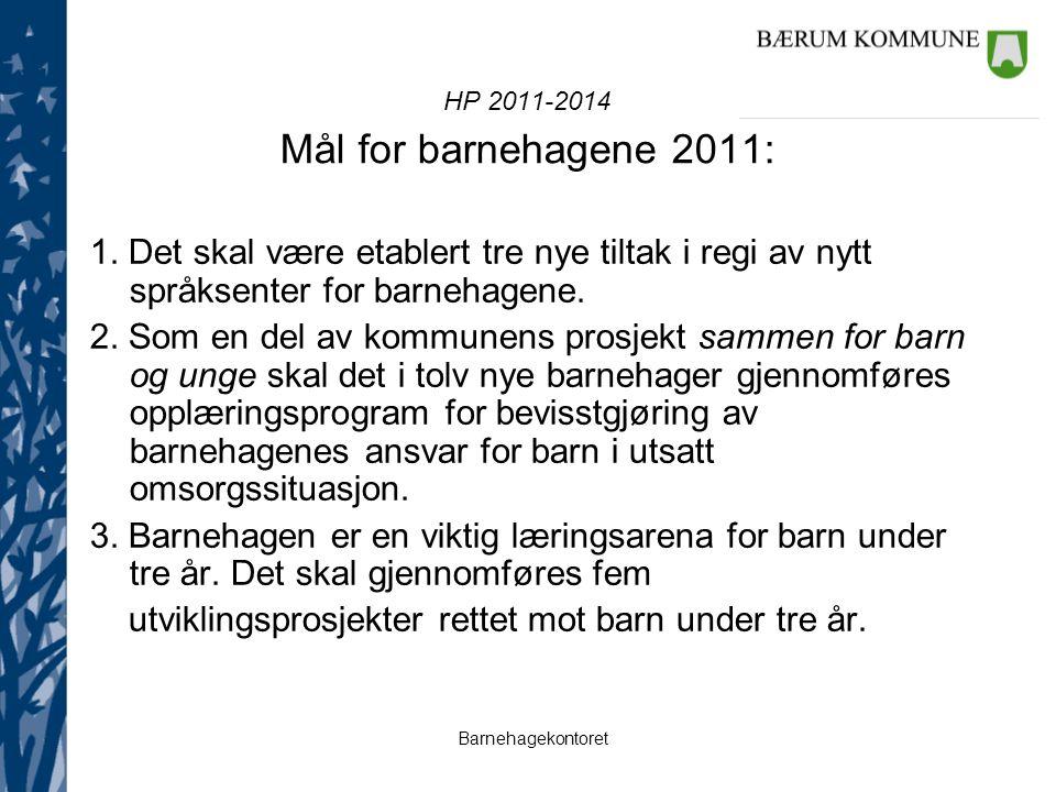 Barnehagekontoret HP 2011-2014 Mål for barnehagene 2011: 1. Det skal være etablert tre nye tiltak i regi av nytt språksenter for barnehagene. 2. Som e