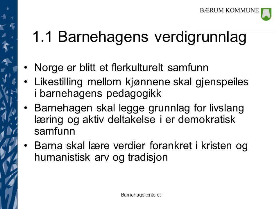Barnehagekontoret 1.1 Barnehagens verdigrunnlag Norge er blitt et flerkulturelt samfunn Likestilling mellom kjønnene skal gjenspeiles i barnehagens pe