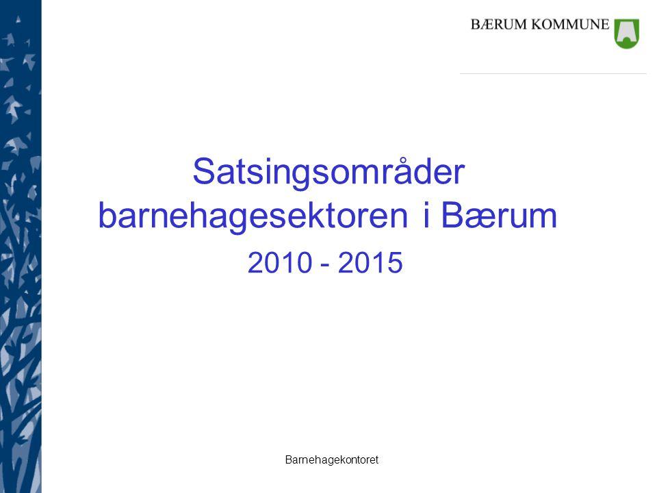 Barnehagekontoret Satsingsområder barnehagesektoren i Bærum 2010 - 2015