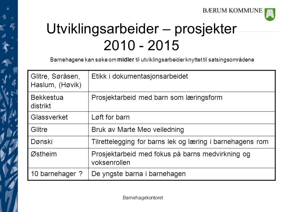 Utviklingsarbeider – prosjekter 2010 - 2015 Barnehagene kan søke om midler til utviklingsarbeider knyttet til satsingsområdene Glitre, Søråsen, Haslum