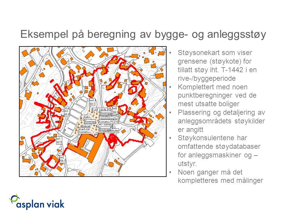Eksempel på beregning av bygge- og anleggsstøy Støysonekart som viser grensene (støykote) for tillatt støy iht. T-1442 i en rive-/byggeperiode Komplet