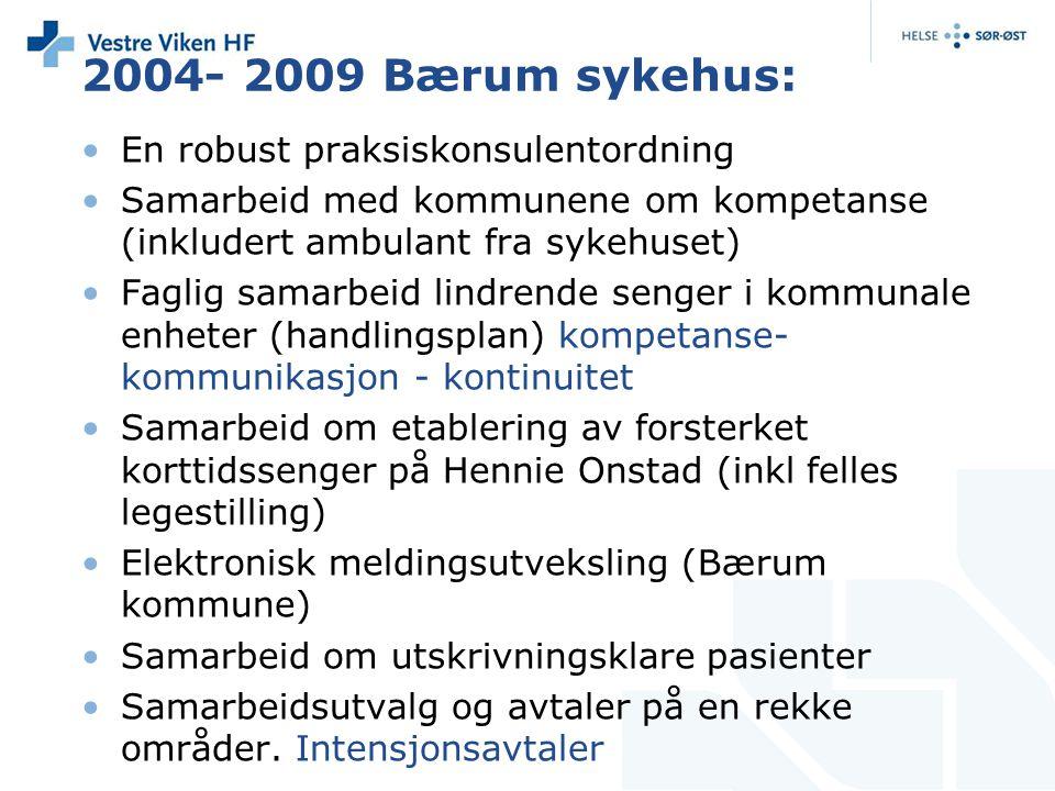 2004- 2009 Bærum sykehus: En robust praksiskonsulentordning Samarbeid med kommunene om kompetanse (inkludert ambulant fra sykehuset) Faglig samarbeid