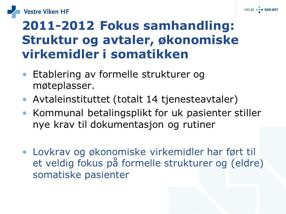2011-2012 Fokus samhandling: Struktur og avtaler, økonomiske virkemidler i somatikken Etablering av formelle strukturer og møteplasser. Avtaleinstitut