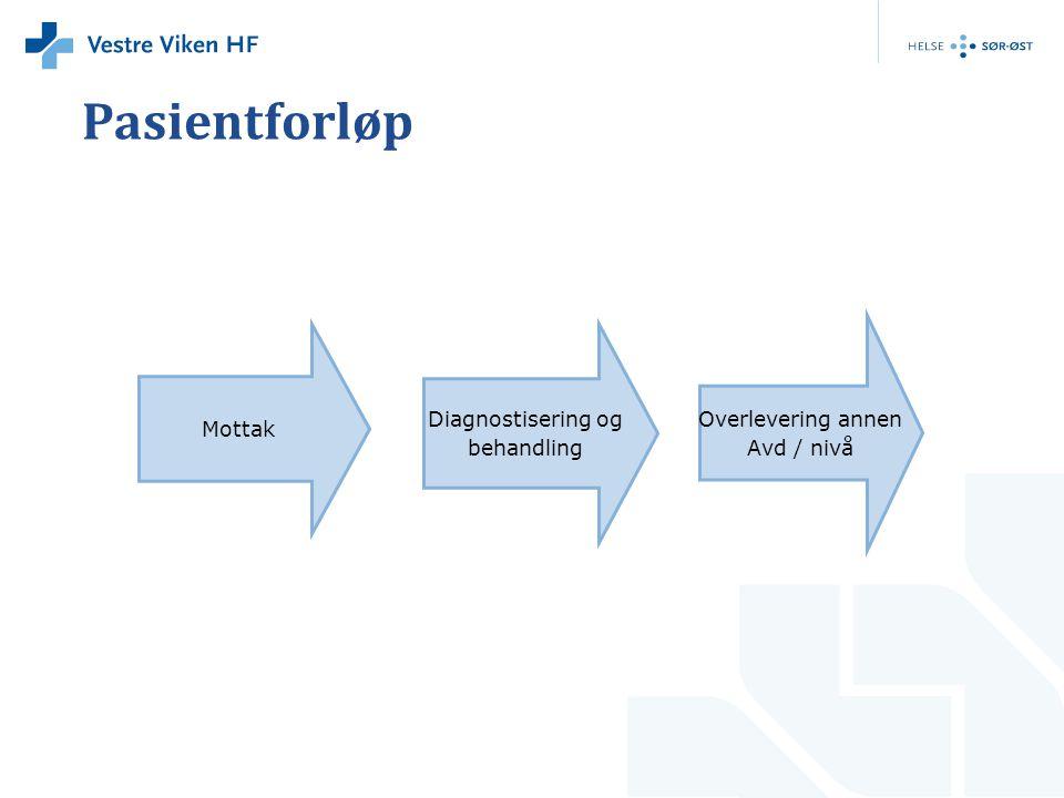 Pasientforløp Mottak Diagnostisering og behandling Overlevering annen Avd / nivå