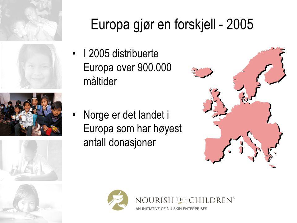 Europa gjør en forskjell - 2005 I 2005 distribuerte Europa over 900.000 måltider Norge er det landet i Europa som har høyest antall donasjoner