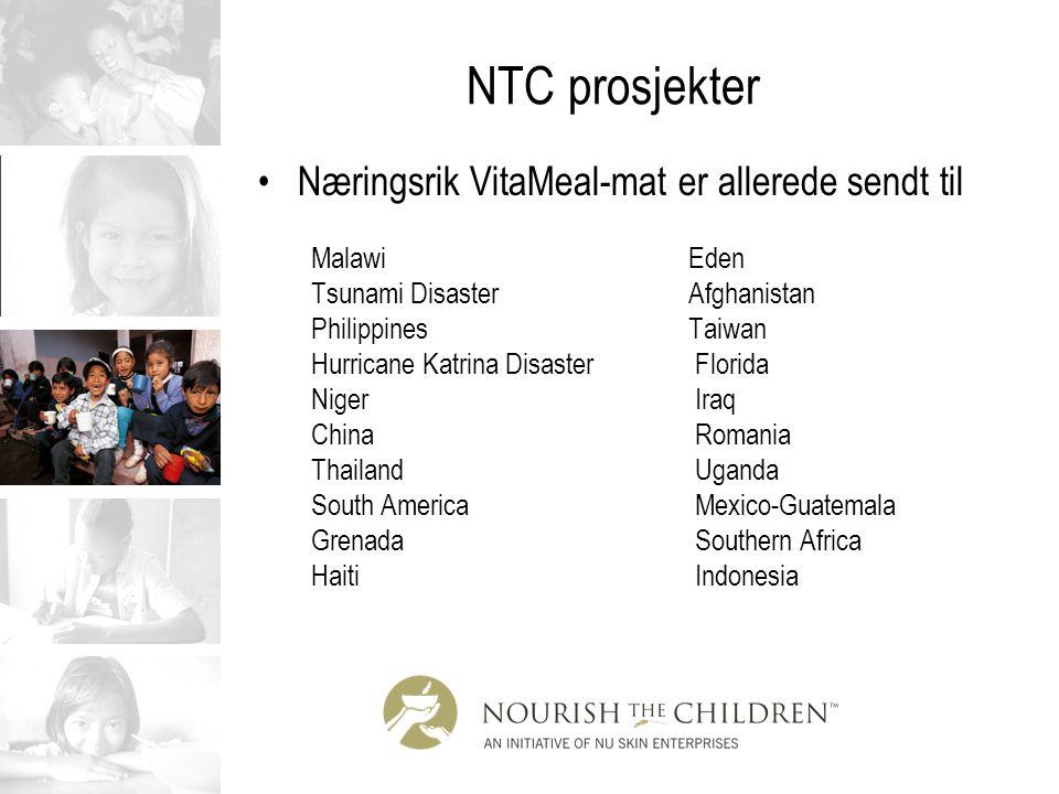 NTC prosjekter Næringsrik VitaMeal-mat er allerede sendt til Malawi Eden Tsunami Disaster Afghanistan Philippines Taiwan Hurricane Katrina Disaster Fl