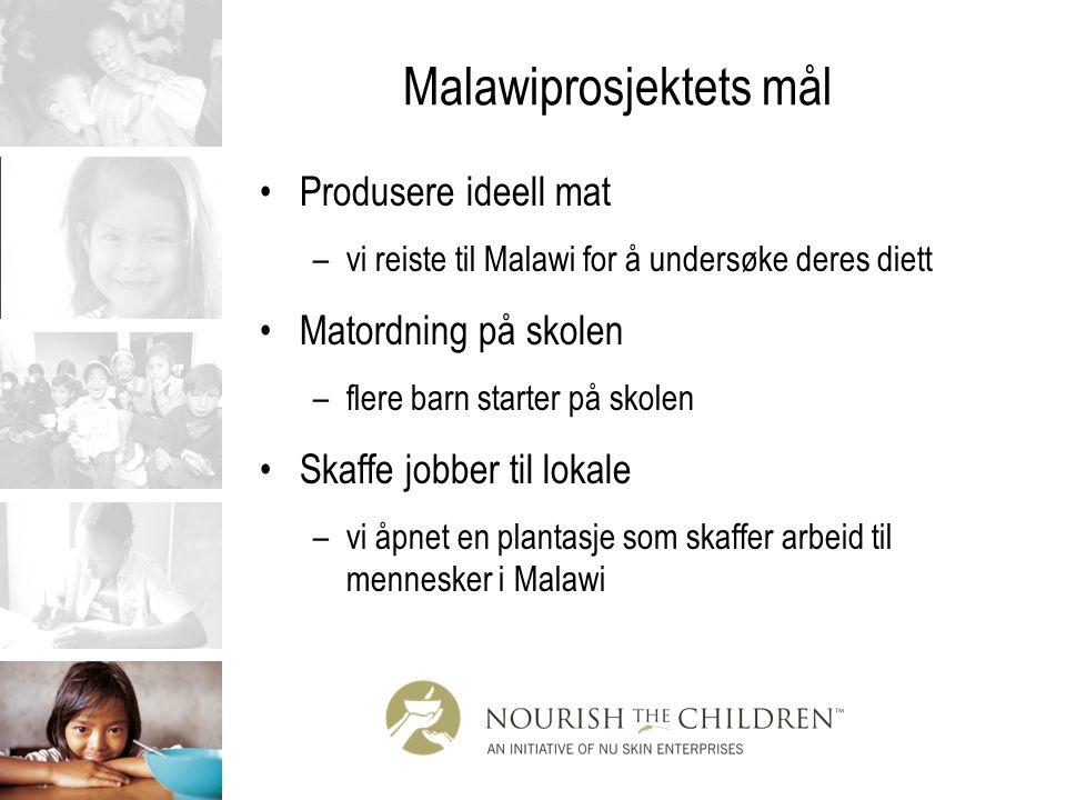 Malawiprosjektets mål Produsere ideell mat –vi reiste til Malawi for å undersøke deres diett Matordning på skolen –flere barn starter på skolen Skaffe
