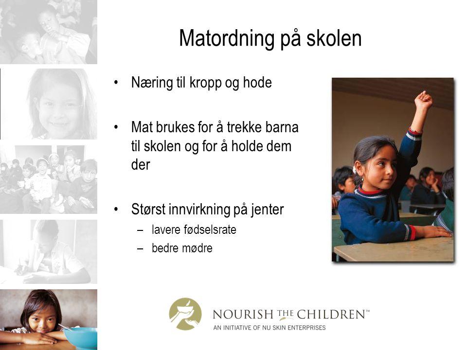 Matordning på skolen Næring til kropp og hode Mat brukes for å trekke barna til skolen og for å holde dem der Størst innvirkning på jenter –lavere fød