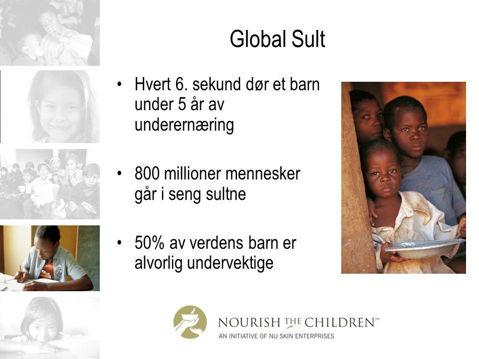 Global Sult Hvert 6. sekund dør et barn under 5 år av underernæring 800 millioner mennesker går i seng sultne 50% av verdens barn er alvorlig undervek