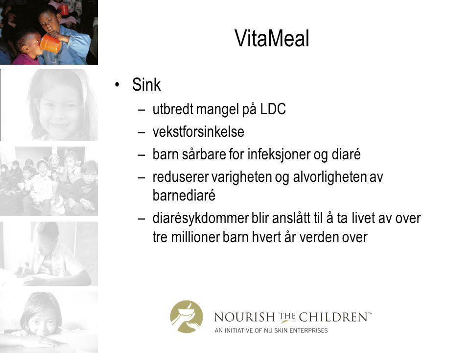 VitaMeal Sink –utbredt mangel på LDC –vekstforsinkelse –barn sårbare for infeksjoner og diaré –reduserer varigheten og alvorligheten av barnediaré –di