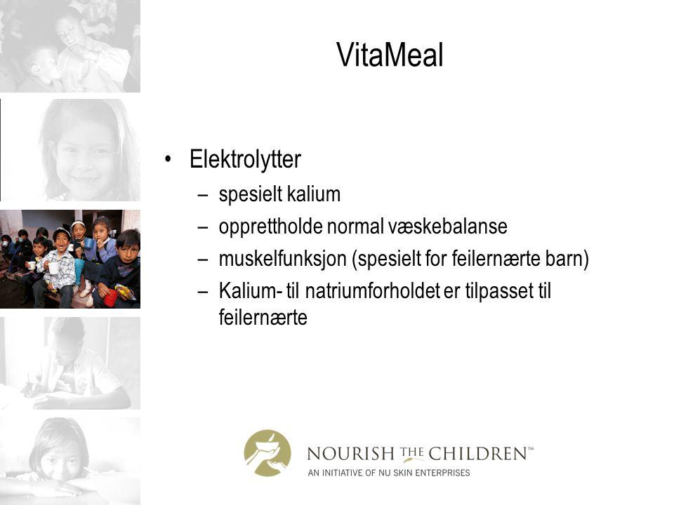 VitaMeal Elektrolytter –spesielt kalium –opprettholde normal væskebalanse –muskelfunksjon (spesielt for feilernærte barn) –Kalium- til natriumforholde