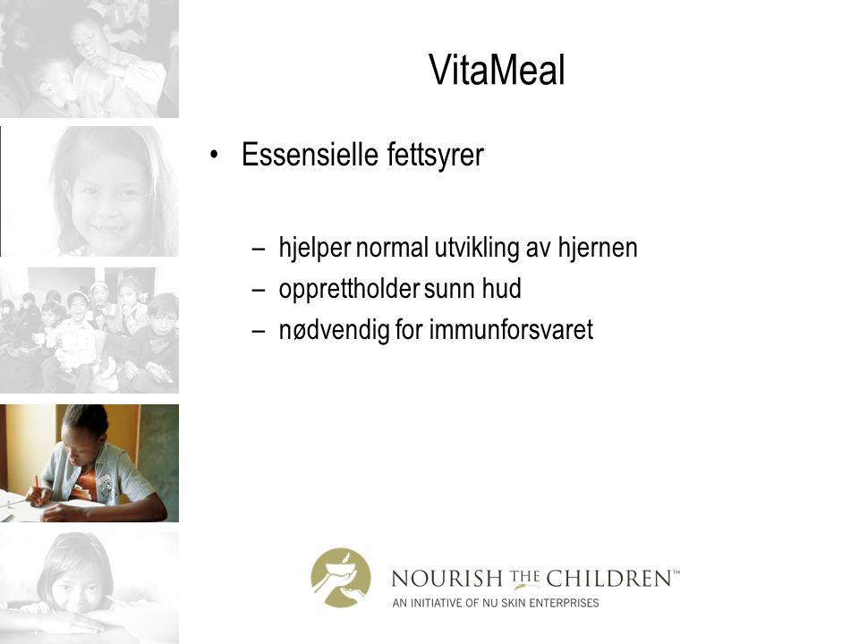 VitaMeal Essensielle fettsyrer –hjelper normal utvikling av hjernen –opprettholder sunn hud –nødvendig for immunforsvaret