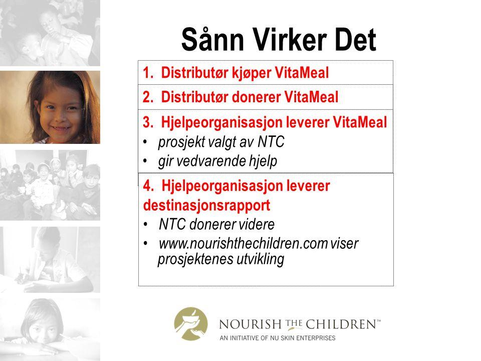 Sånn Virker Det 1. Distributør kjøper VitaMeal Internet telefon walk-in Fax 2. Distributør donerer VitaMeal til veldedighet valgt av NTC NTC koordiner