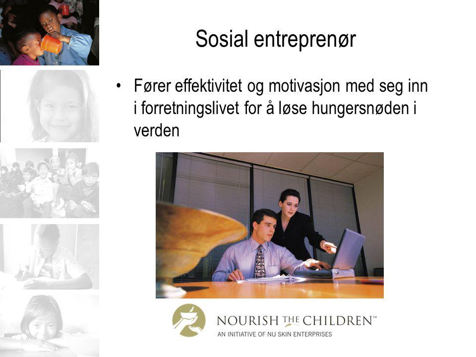 Sosial entreprenør Fører effektivitet og motivasjon med seg inn i forretningslivet for å løse hungersnøden i verden
