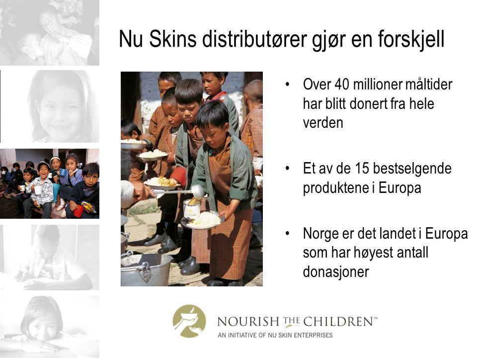 Nu Skins distributører gjør en forskjell Over 40 millioner måltider har blitt donert fra hele verden Et av de 15 bestselgende produktene i Europa Norg