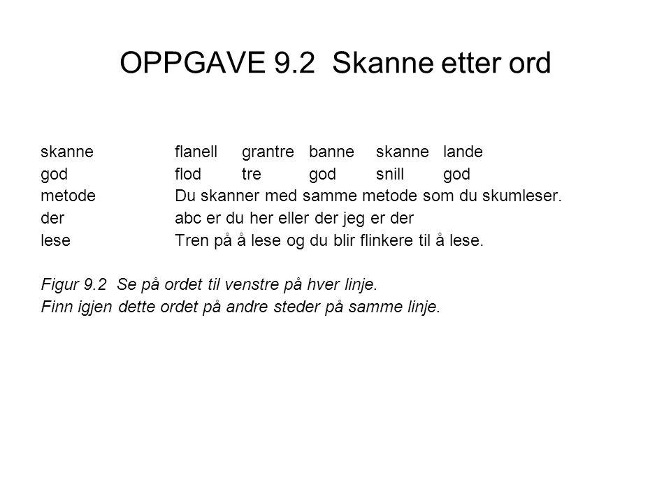 OPPGAVE 9.2 Skanne etter ord skanneflanellgrantrebanneskannelande godflodtregodsnillgod metodeDu skanner med samme metode som du skumleser. derabc er