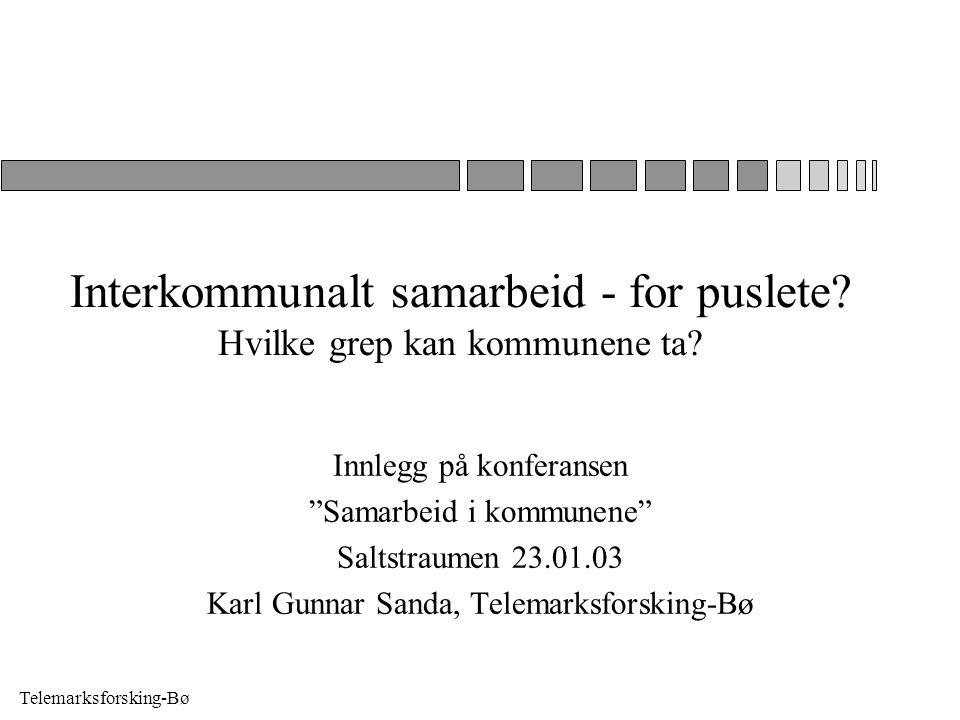 """Telemarksforsking-Bø Interkommunalt samarbeid - for puslete? Hvilke grep kan kommunene ta? Innlegg på konferansen """"Samarbeid i kommunene"""" Saltstraumen"""