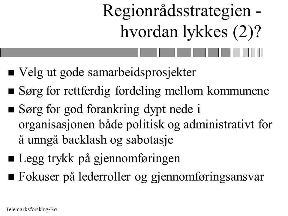 Telemarksforsking-Bø Regionrådsstrategien - hvordan lykkes (2)? n Velg ut gode samarbeidsprosjekter n Sørg for rettferdig fordeling mellom kommunene n