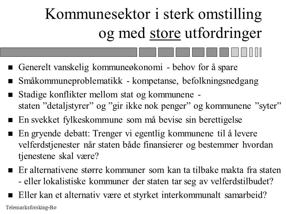Telemarksforsking-Bø Kommunesektor i sterk omstilling og med store utfordringer n Generelt vanskelig kommuneøkonomi - behov for å spare n Småkommunepr