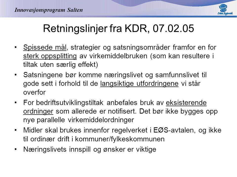 Innovasjonsprogram Salten Retningslinjer fra KDR, 07.02.05 Spissede mål, strategier og satsningsområder framfor en for sterk oppsplitting av virkemidd