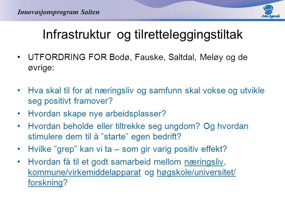 Innovasjonsprogram Salten Infrastruktur og tilretteleggingstiltak UTFORDRING FOR Bodø, Fauske, Saltdal, Meløy og de øvrige: Hva skal til for at næringsliv og samfunn skal vokse og utvikle seg positivt framover.