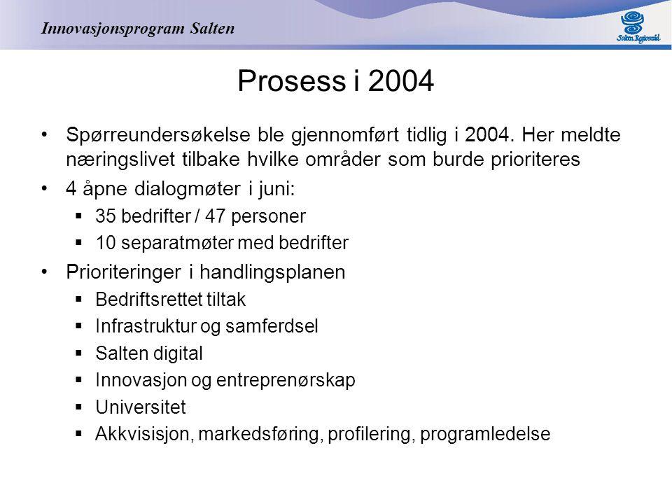 Innovasjonsprogram Salten Prosess i 2004 Spørreundersøkelse ble gjennomført tidlig i 2004.