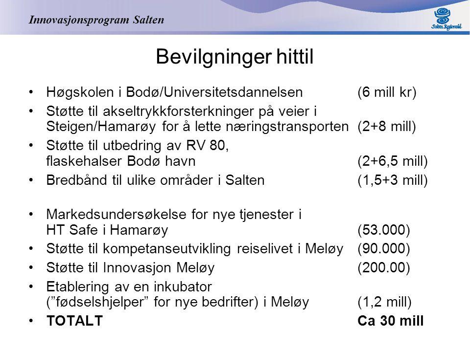 Innovasjonsprogram Salten Bevilgninger hittil Høgskolen i Bodø/Universitetsdannelsen (6 mill kr) Støtte til akseltrykkforsterkninger på veier i Steigen/Hamarøy for å lette næringstransporten (2+8 mill) Støtte til utbedring av RV 80, flaskehalser Bodø havn (2+6,5 mill) Bredbånd til ulike områder i Salten (1,5+3 mill) Markedsundersøkelse for nye tjenester i HT Safe i Hamarøy (53.000) Støtte til kompetanseutvikling reiselivet i Meløy (90.000) Støtte til Innovasjon Meløy (200.00) Etablering av en inkubator ( fødselshjelper for nye bedrifter) i Meløy (1,2 mill) TOTALTCa 30 mill