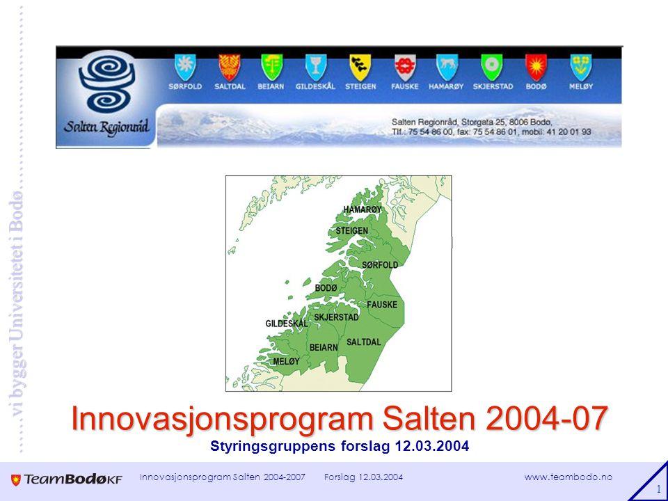 www.teambodo.no ……vi bygger Universitetet i Bodø………………………… Forslag 12.03.2004Innovasjonsprogram Salten 2004-2007 2 Bakgrunn – statsbudsjettet for 2004  Gradvis omlegging av differensiert arbeidsgiveravgift  Overgangsordning på tre år  Økning fra 5,1 % i 2003 til 14,1 % i 2007 for bedrifter i Bodø og Salten  Flere kompensasjonstiltak – til næringsrettede utviklingsmidler 500 mill kr: 400 mill til regionale tiltak / program 100 mill kr til bransjeprogram  Opptrapping i takt med avgiftsøkningen!?