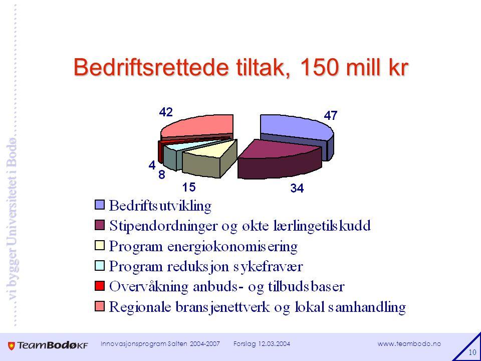 www.teambodo.no ……vi bygger Universitetet i Bodø………………………… Forslag 12.03.2004Innovasjonsprogram Salten 2004-2007 10 Bedriftsrettede tiltak, 150 mill kr