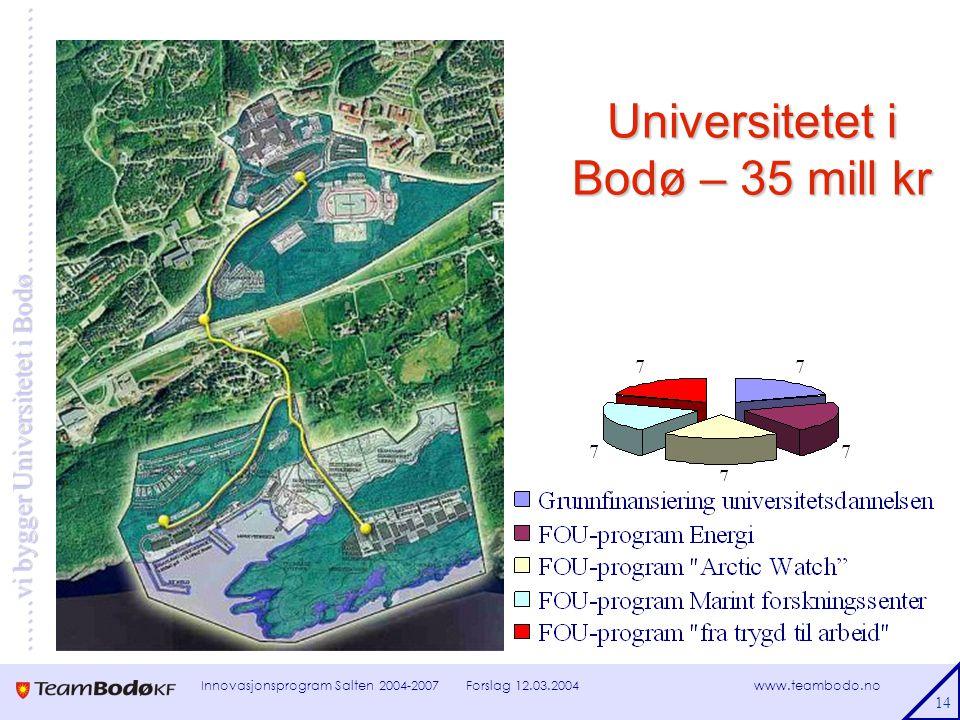 www.teambodo.no ……vi bygger Universitetet i Bodø………………………… Forslag 12.03.2004Innovasjonsprogram Salten 2004-2007 14 Universitetet i Bodø – 35 mill kr
