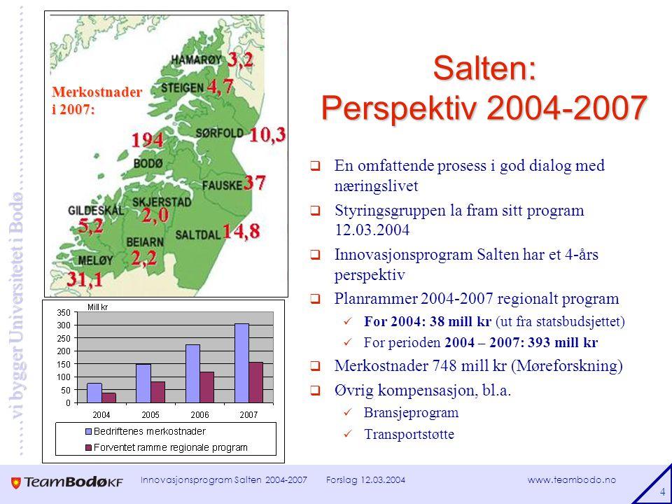 www.teambodo.no ……vi bygger Universitetet i Bodø………………………… Forslag 12.03.2004Innovasjonsprogram Salten 2004-2007 5 Mål og innsatsområder 2004-07  Hovedmål: Vekst i Salten et mer konkurransedyktig og lønnsomt næringsliv i en mer konkurransedyktig og velfungerende BAS-region  Delprogram for innsatsområdene Resultatmål Samfinansiering tiltak Nettverksbasert organisering av oppfølgingsarbeidet Prioriterte innsatsområder  Bedriftsrettede tiltak og lokal næringsutvikling  Næringsrettet infrastruktur og samferdsel  Salten digital  Innovasjon og entreprenørskap  Næringsrettede FOU-program knyttet til universitetsdannelsen i Bodø  Akkvisisjon, profilering og markedsføring