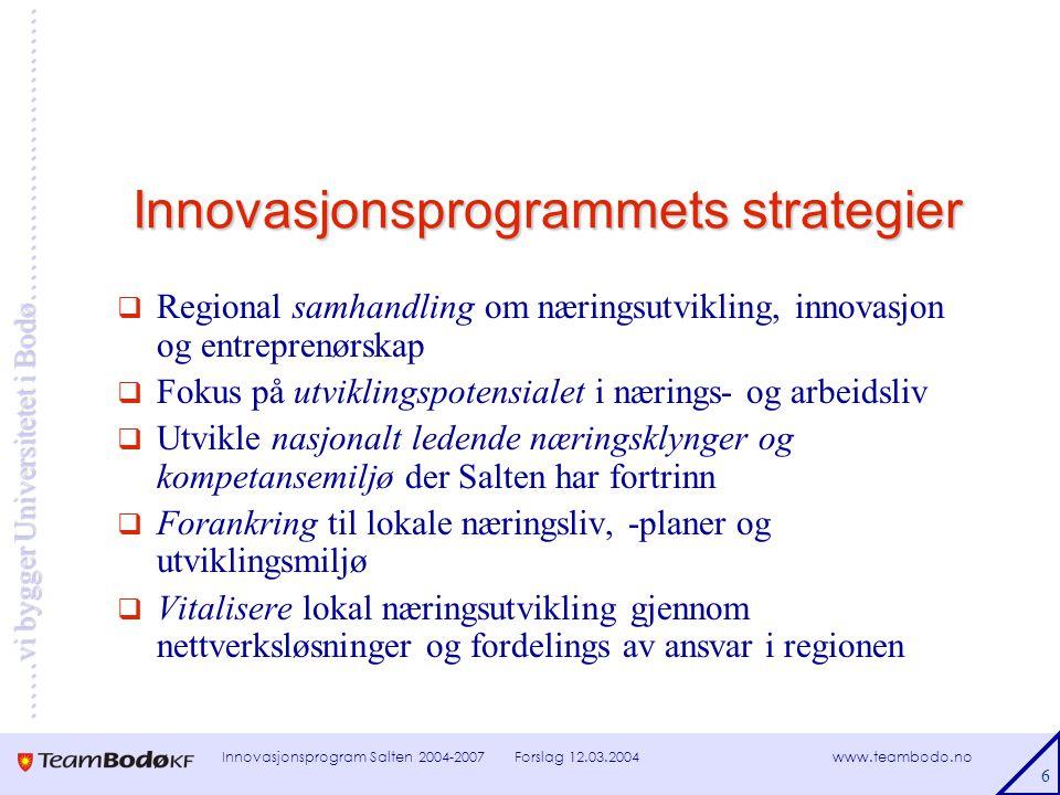 www.teambodo.no ……vi bygger Universitetet i Bodø………………………… Forslag 12.03.2004Innovasjonsprogram Salten 2004-2007 7 Ressursfordeling på innsatsområder Ressursfordeling på innsatsområder ( forutsatt at Salten får ca 393 mill kr i perioden 2004 – 2007 )
