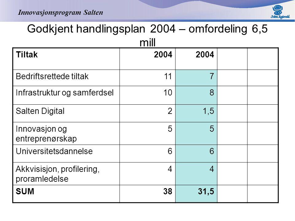 Innovasjonsprogram Salten Endring for 2005 – 28 % Tiltak2005 Utg.pkt2005 Nytt bud Bedriftsrettede tiltak2215,8 Infrastruktur og samferdsel2920,9 Salten Digital64,3 Innovasjon og entreprenørskap 85,8 Universitetsdannelse96,4 Akkvisisjon, profilering, proramledelse 64,3 SUM8058