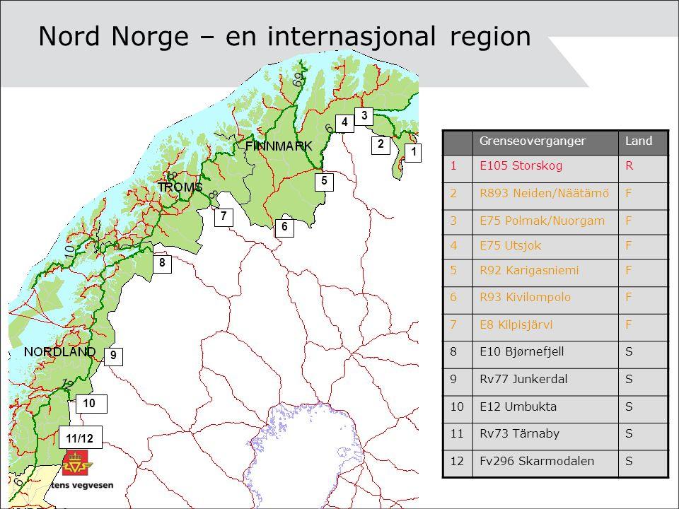1 2 4 5 6 7 8 9 10 Nord Norge – en internasjonal region 3 GrenseovergangerLand 1E105 StorskogR 2R893 Neiden/NäätämöF 3E75 Polmak/NuorgamF 4E75 UtsjokF