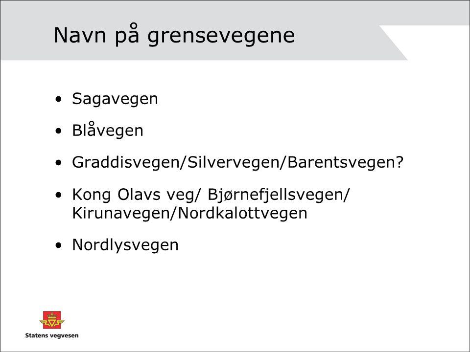 Navn på grensevegene Sagavegen Blåvegen Graddisvegen/Silvervegen/Barentsvegen? Kong Olavs veg/ Bjørnefjellsvegen/ Kirunavegen/Nordkalottvegen Nordlysv